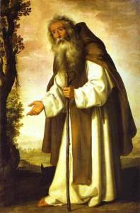 San Antonio Abad, por Zurbarán, vestido a la occidental