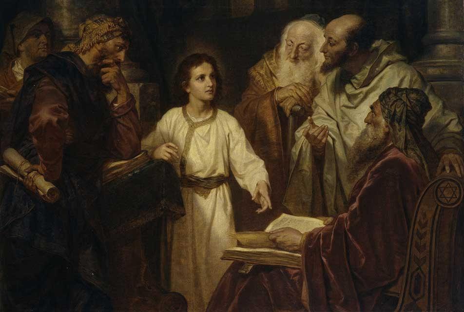 """""""El niño Jesús en el templo"""", 1884, de Ferdinand Heinrich Hofmann"""