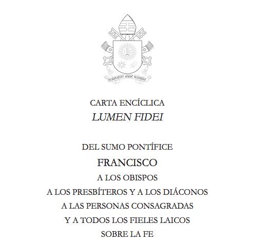 Portada de la encíclica Lumen Fidei